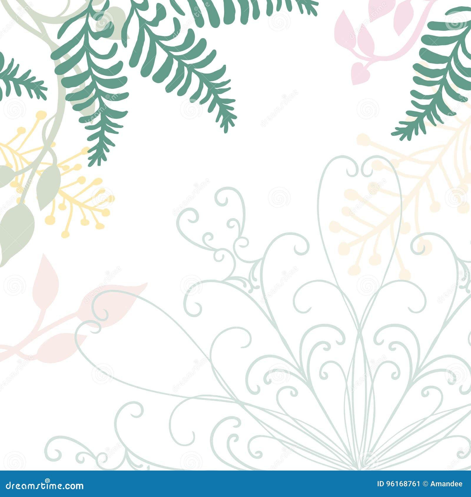 Handen drog blom- vektorn med snör åt designbeståndsdel- och pastellnaturillustrationer av gröna ormbunkar murgröna och blommor