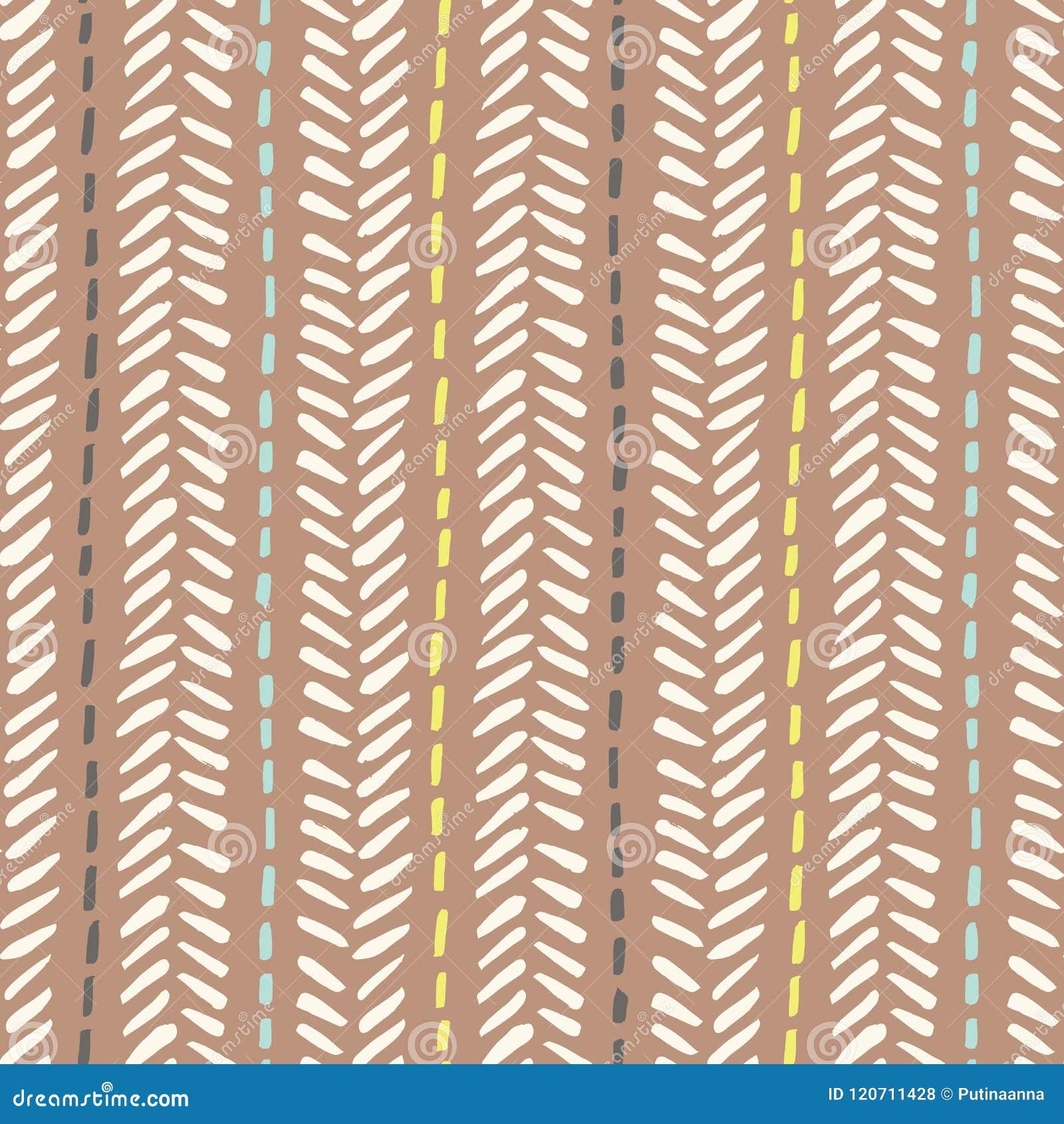 Handen drog stam- fiskbensmönstret syr på sömlös modell för brun bakgrundsvektor Ny geometrisk teckning