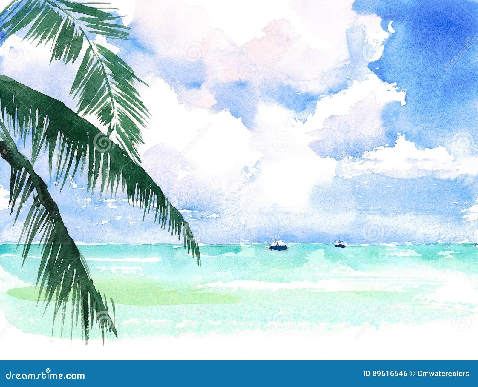 Handen för stranden för havet för tropisk karibisk exotisk kustSeascape för vattenfärgen målade den sceniska illustrationen