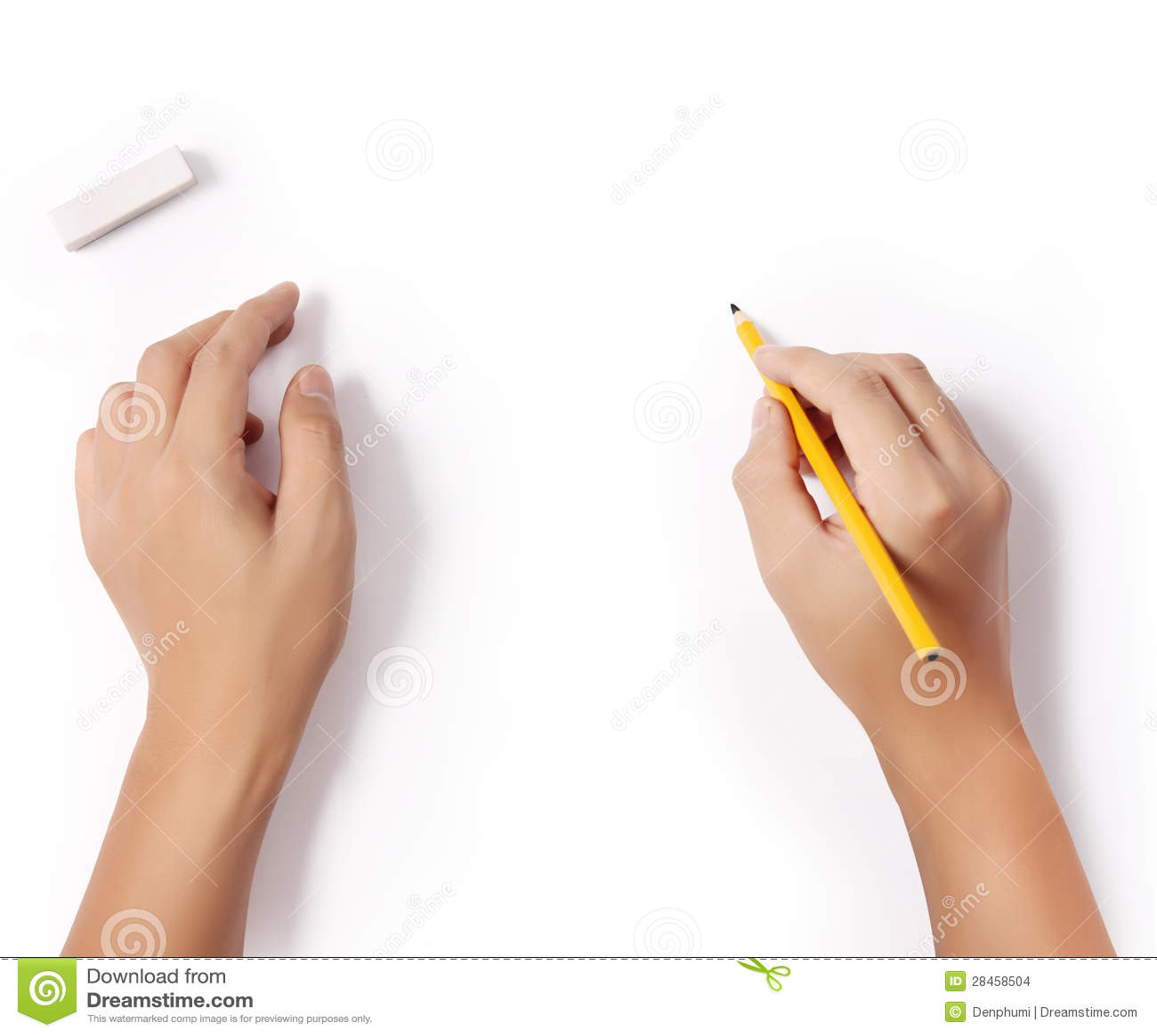 Handen met potlood