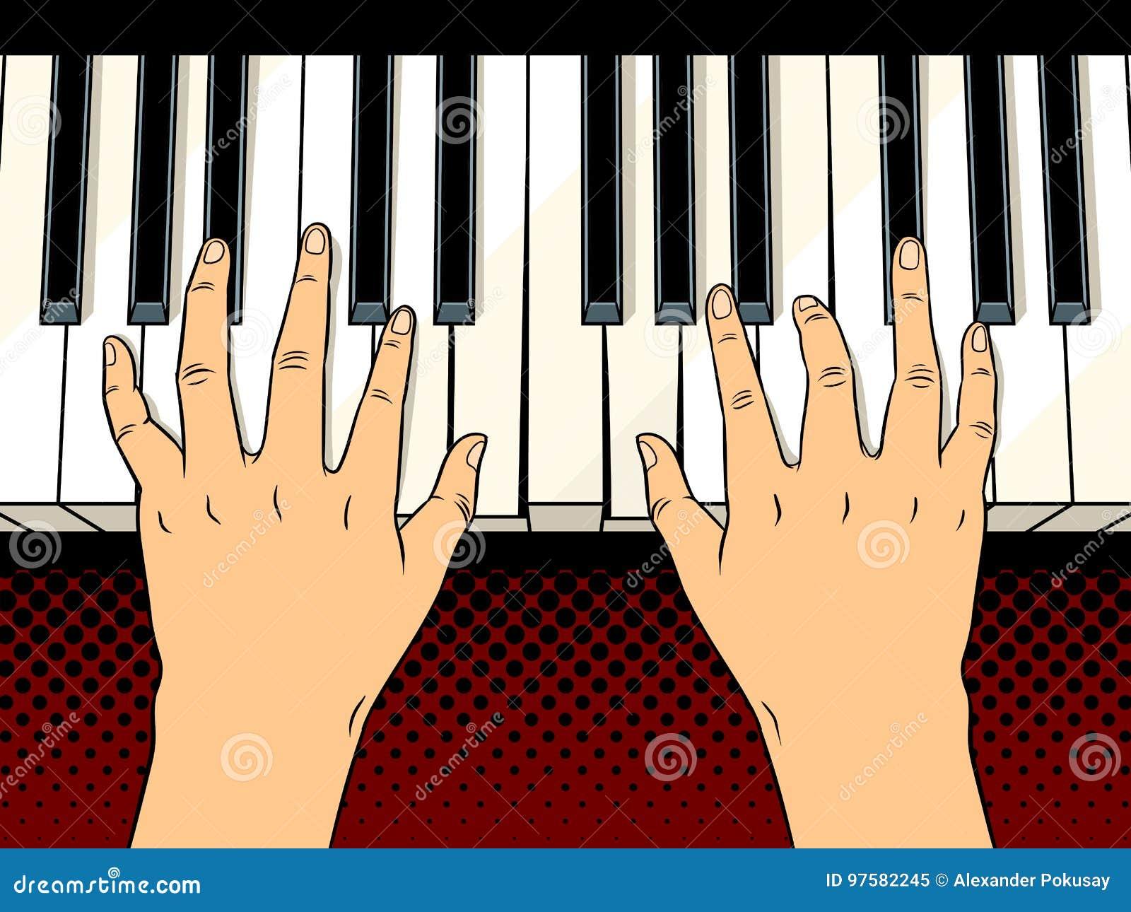Handen op het pop-art vectorillustratie van pianosleutels