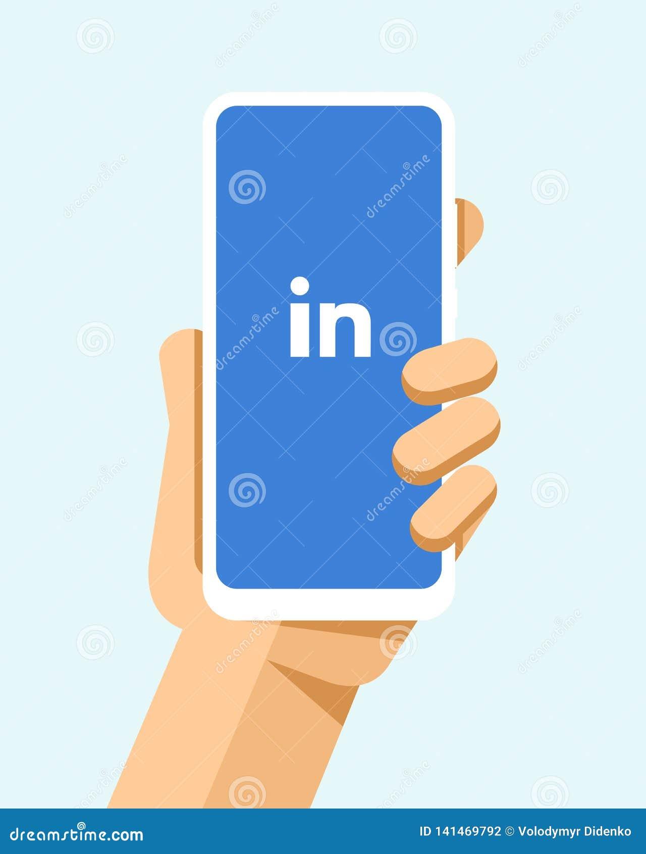 Handen rymmer smartphonen med den LinkedIn applikationen på skärmen För telefonmodell för plan vektor modern illustration