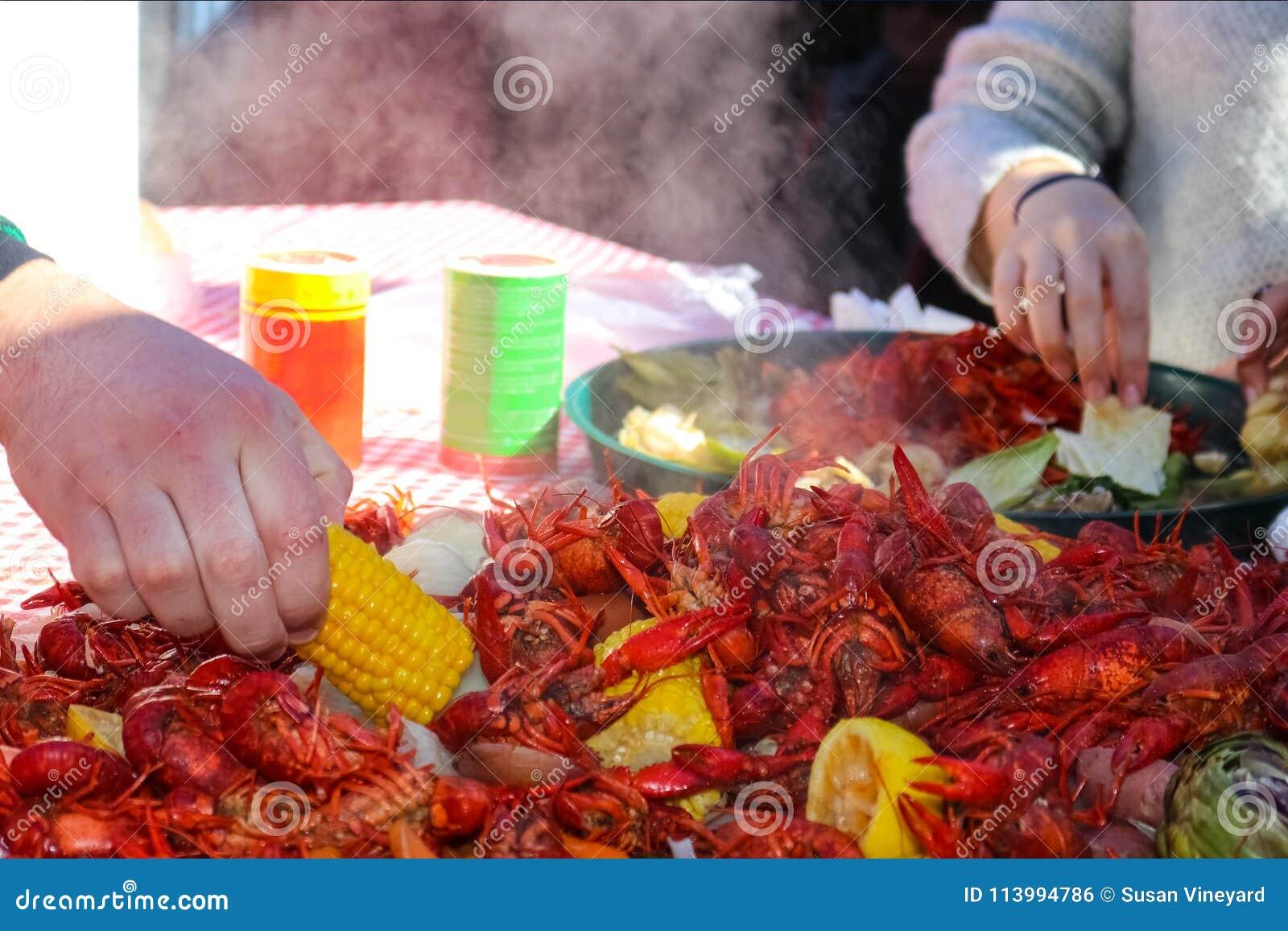 Handen som in når för ett stycke av havre på majskolven från en hög av att ånga mat på en langust, kokar med en annan handplockni