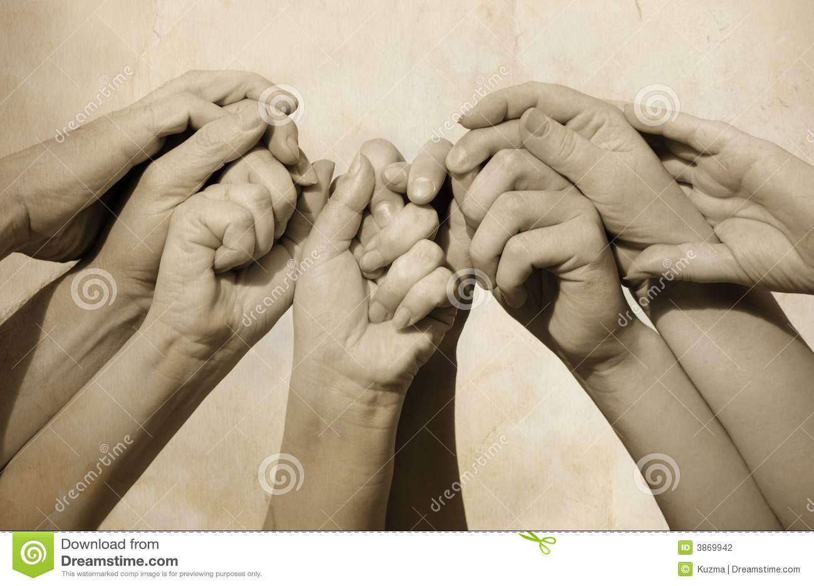 Handen van team