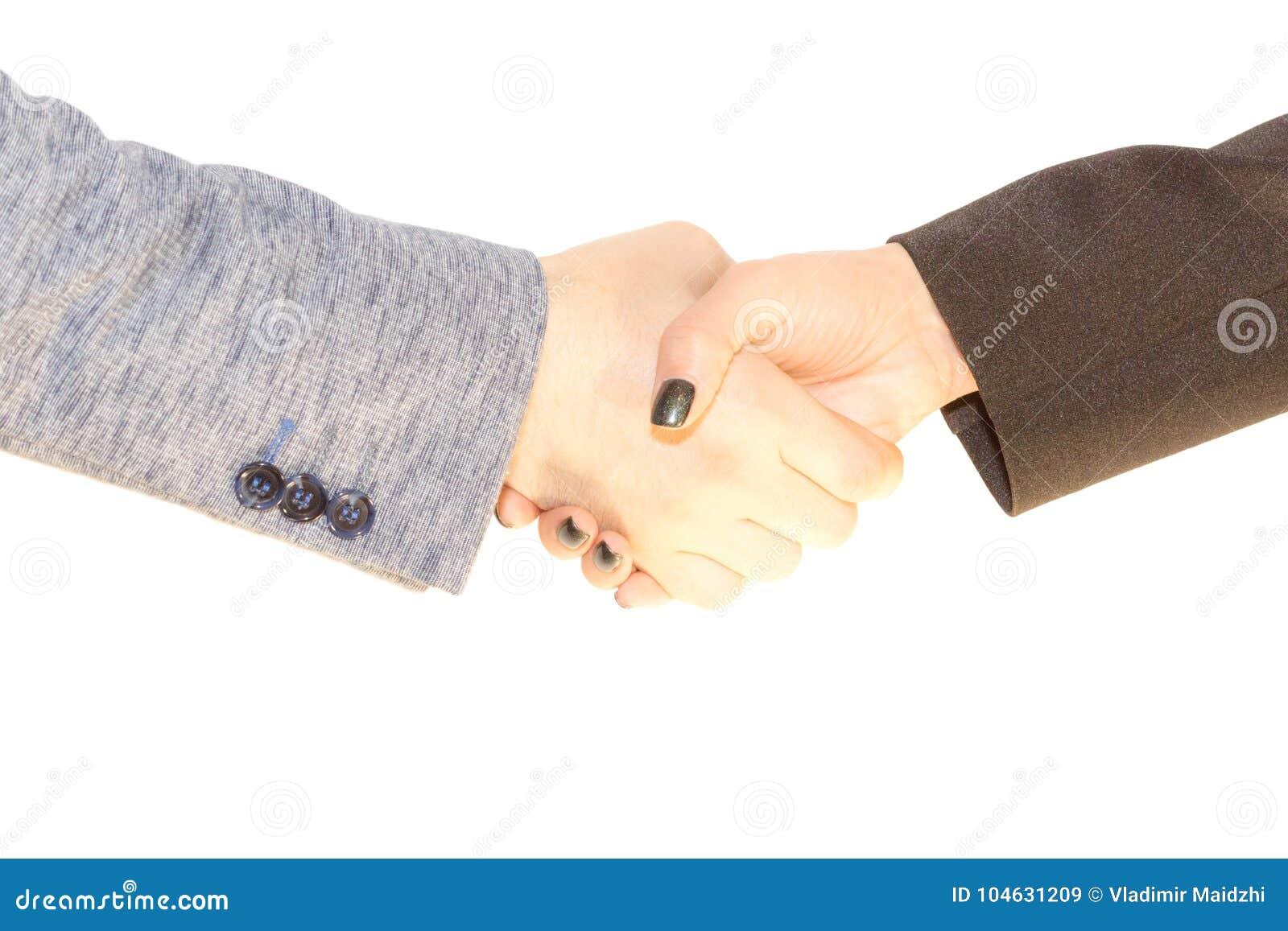 Download Handenschudden Van Vrouw En De Mens Op De Witte Achtergrond Stock Afbeelding - Afbeelding bestaande uit pact, deferentie: 104631209