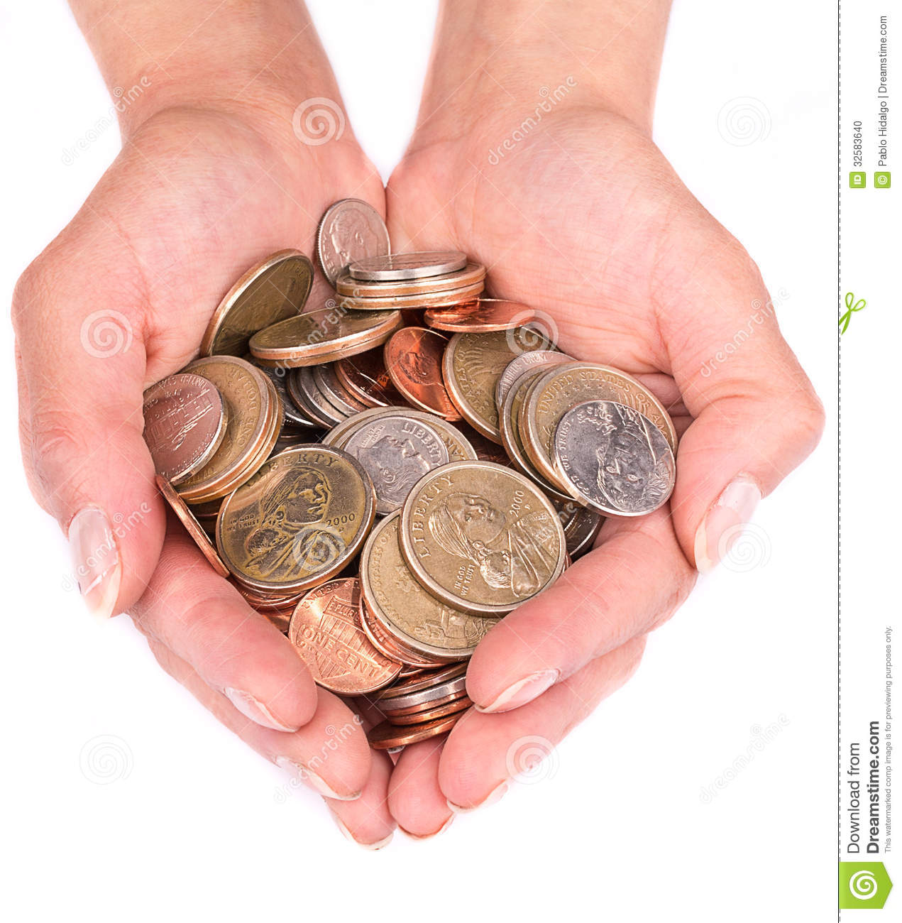 Handful With Coins In The Palm Of Hands Stock Photo - Image