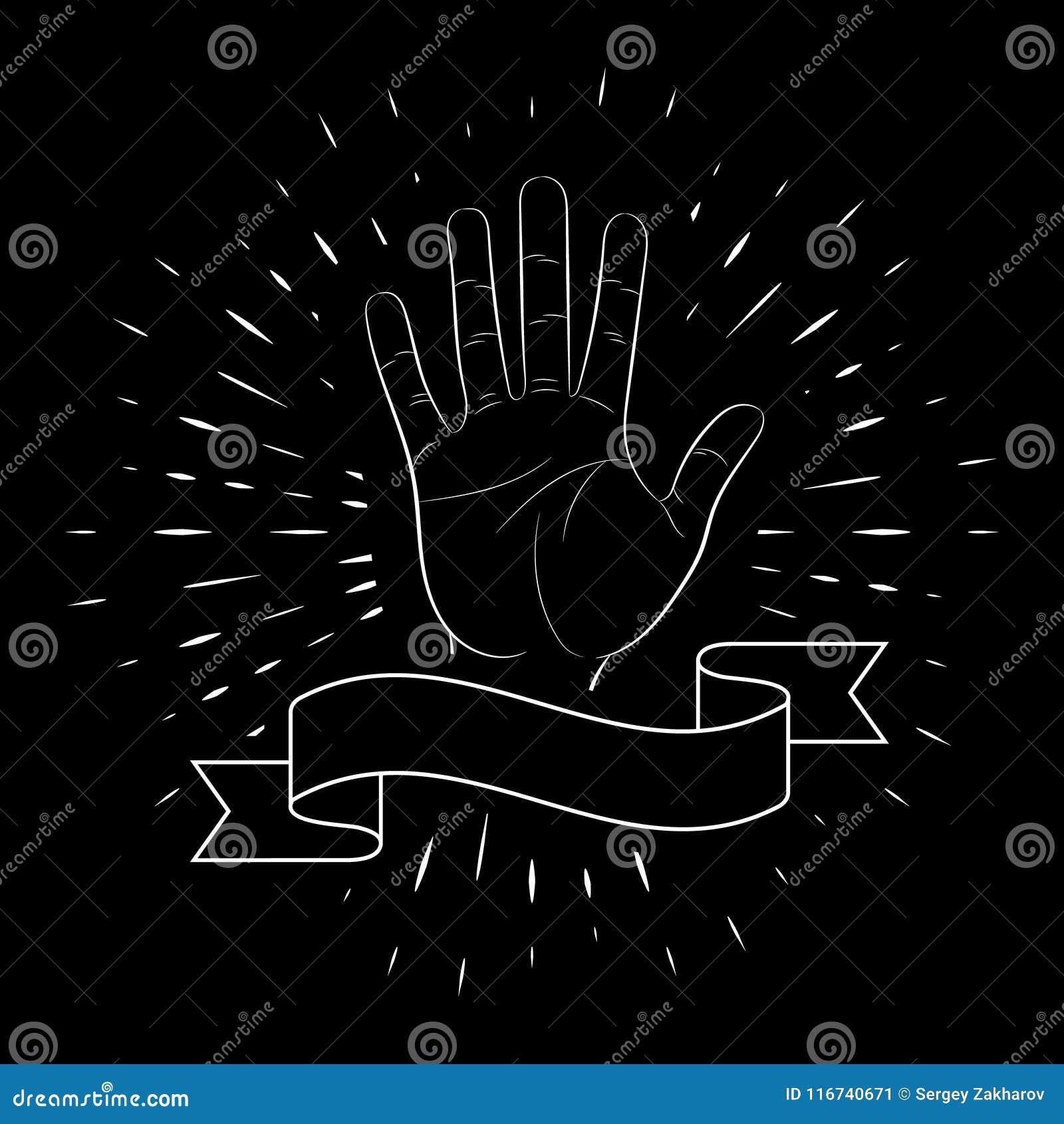 Handgebaar, open palm, groet, vijf vingers, contour, tegen de achtergrond van lineaire stralen Voor het ontwerp van affiches