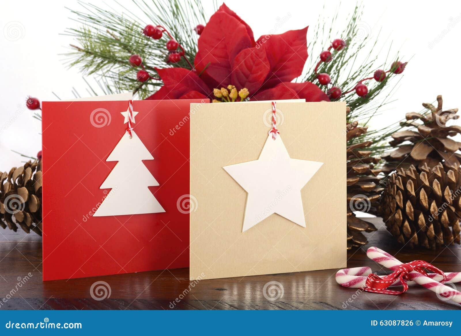 Handgemachte Weihnachtsgruß-Karte Stockfoto - Bild von handmade ...