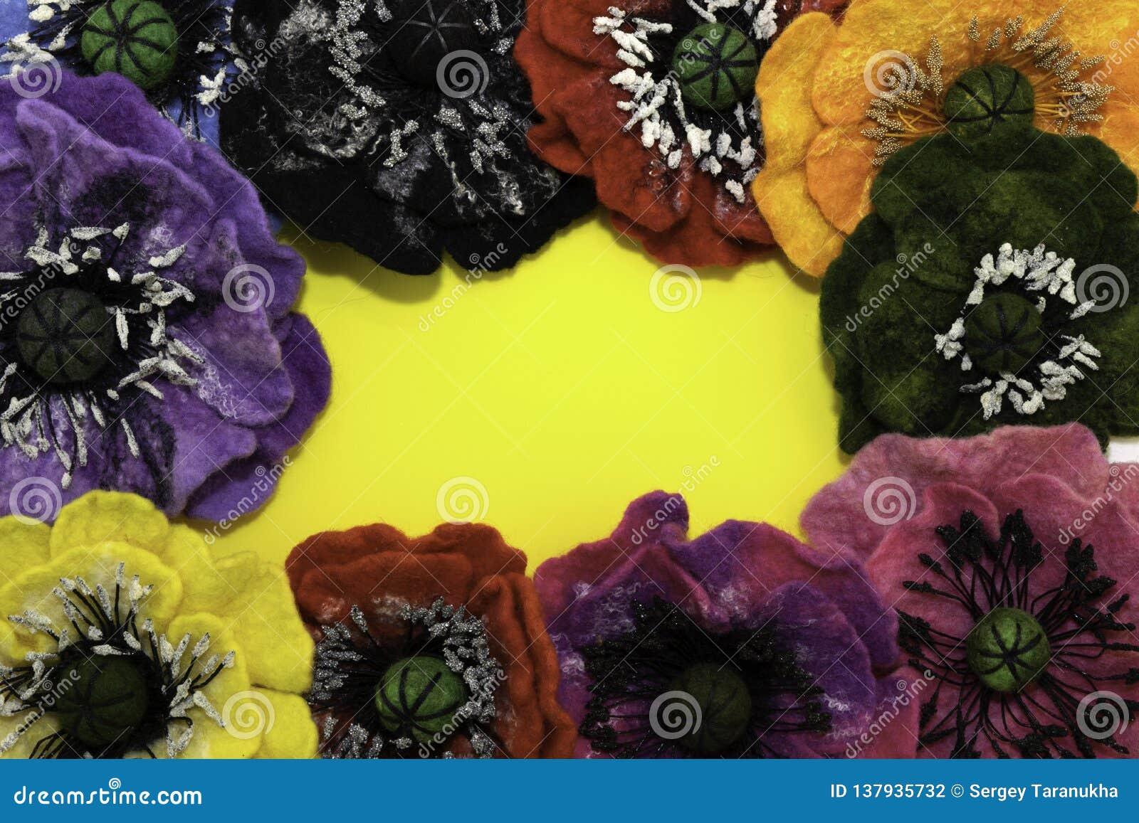 Handgemachter Filz, Blumen
