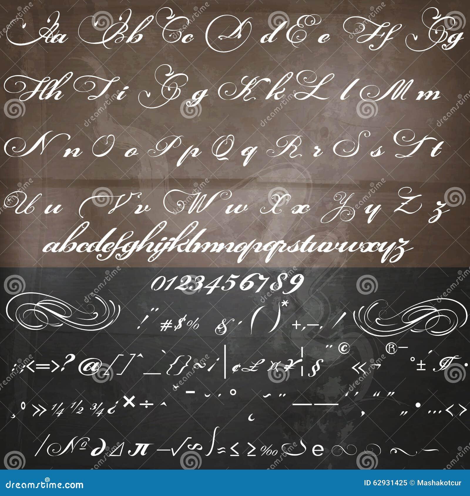 Handgemachter Skriptguß Des Vektors In Weinlese Viktorianischem Stil ...