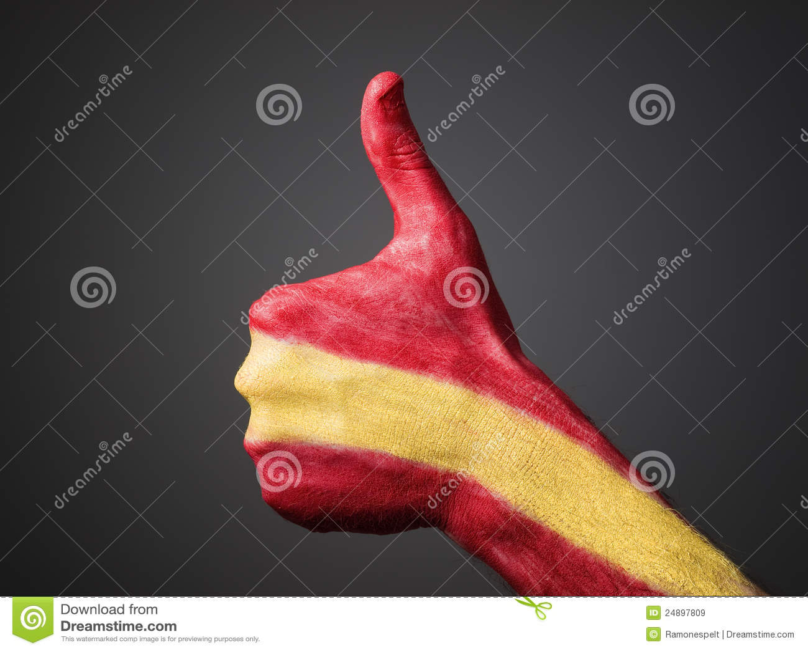Handgemalt mit Markierungsfahne Spanien, das Bestimmtheit ausdrückt