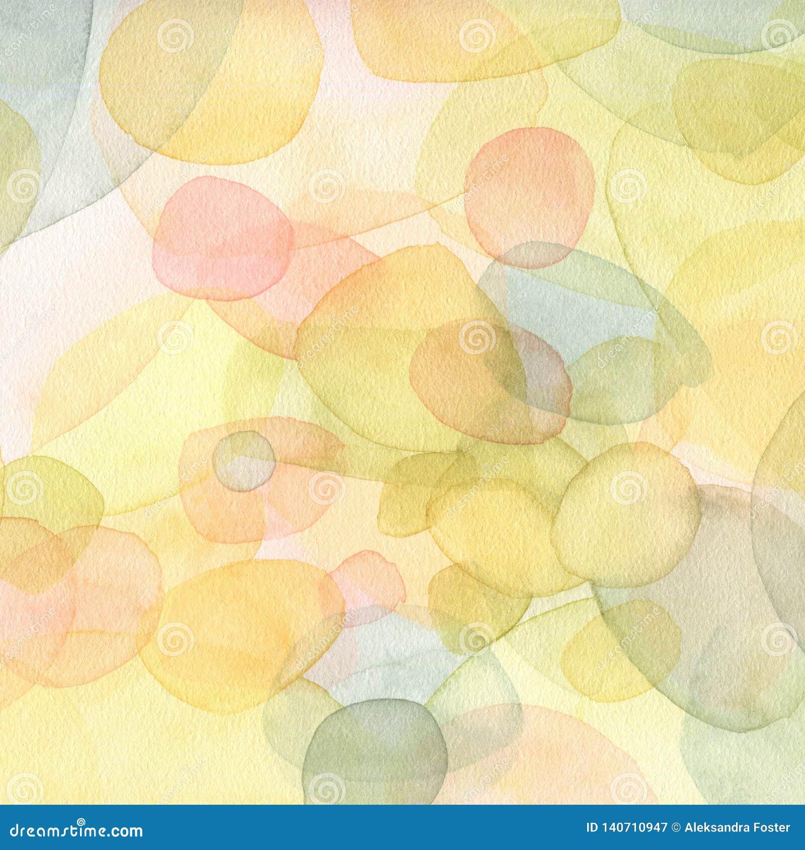 Handgemalte Aquarellillustration Abstrakter Hintergrund in der grünen und gelben Farbe