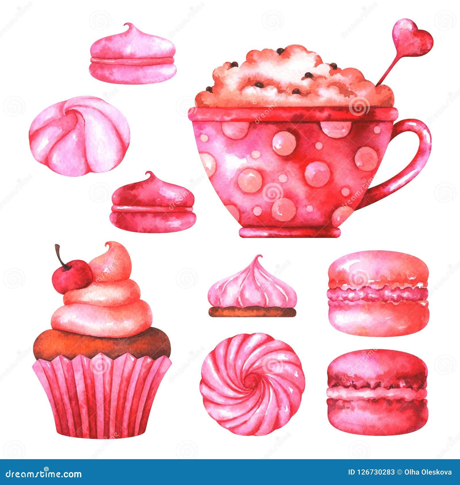 Handgemalte Illustration mit Aquarellmakronen, -eibischen, -schale mit Kaffee und -muffin