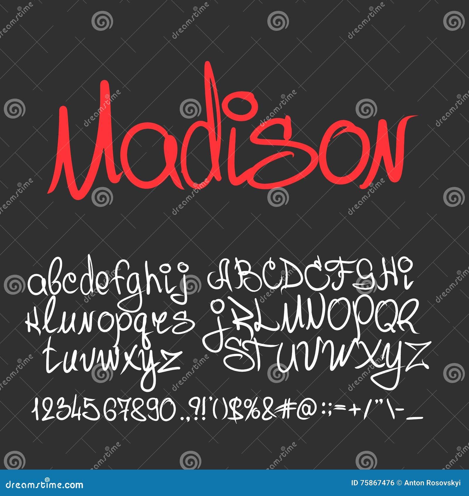 Handgeschriebene Kalligraphiegussbuchstaben, Zahlen Vektor Abbildung ...