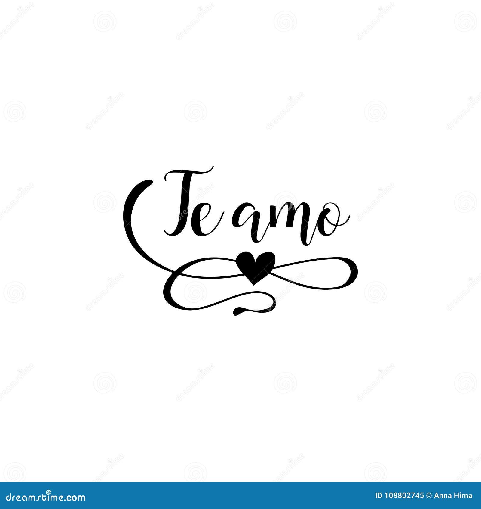 Handgeschriebene Kalligraphiephrase Auf Spanisch Te Amo Auch Im