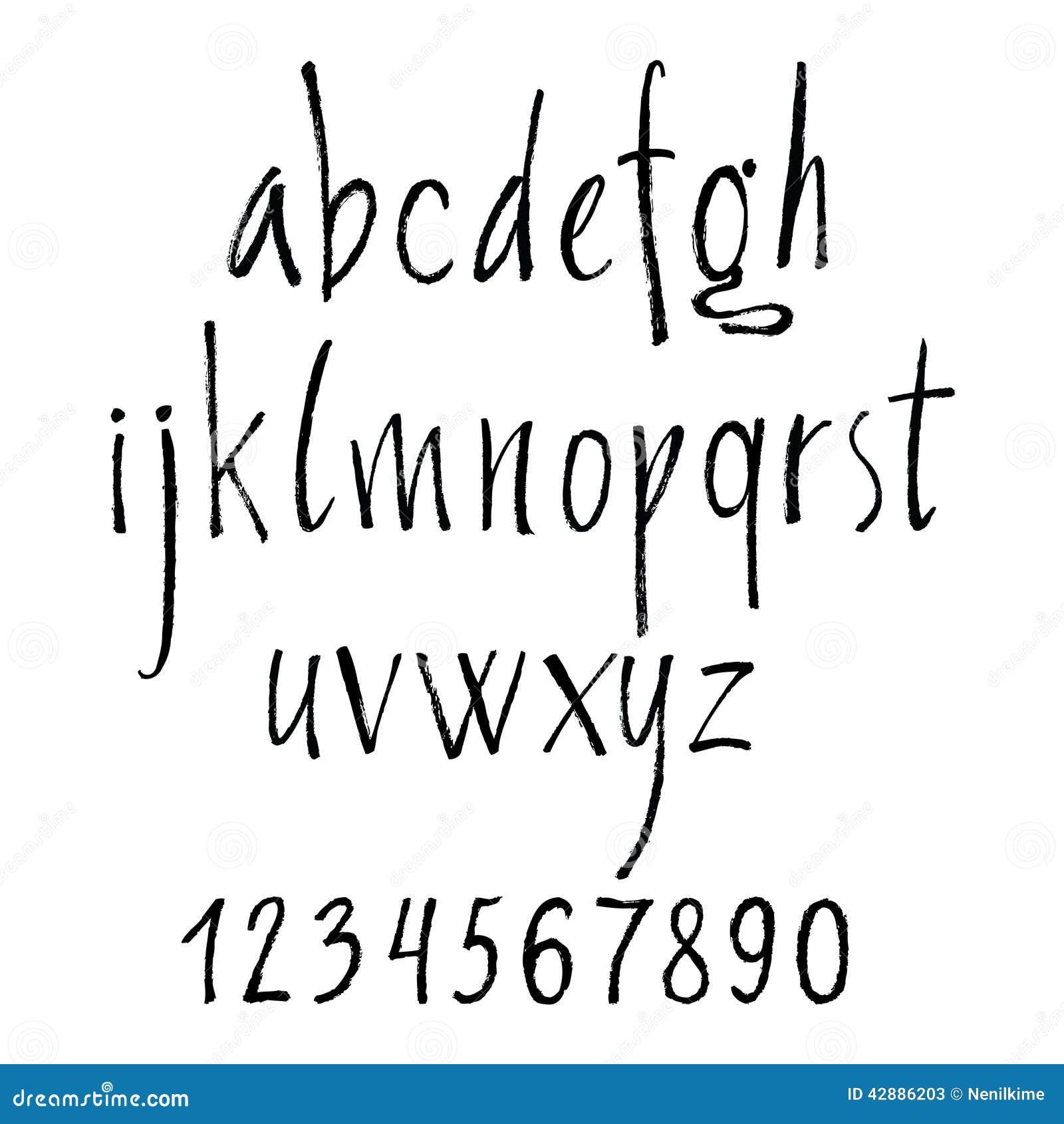 handgeschriebene kalligraphische buchstaben des alphabetes