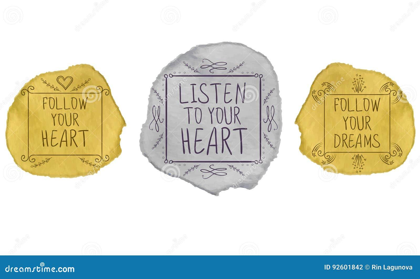 Handgeschriebener Text auf Farbenanschlag Karikatur polar mit Herzen Golden und