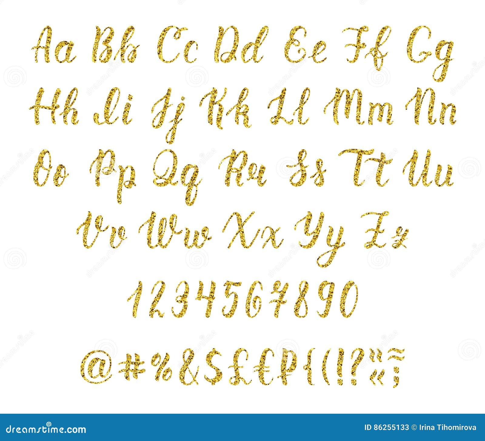 Handgeschriebenes lateinisches Kalligraphiebürstenskript mit Zahlen und Interpunktionszeichen Goldfunkelnalphabet Vektor