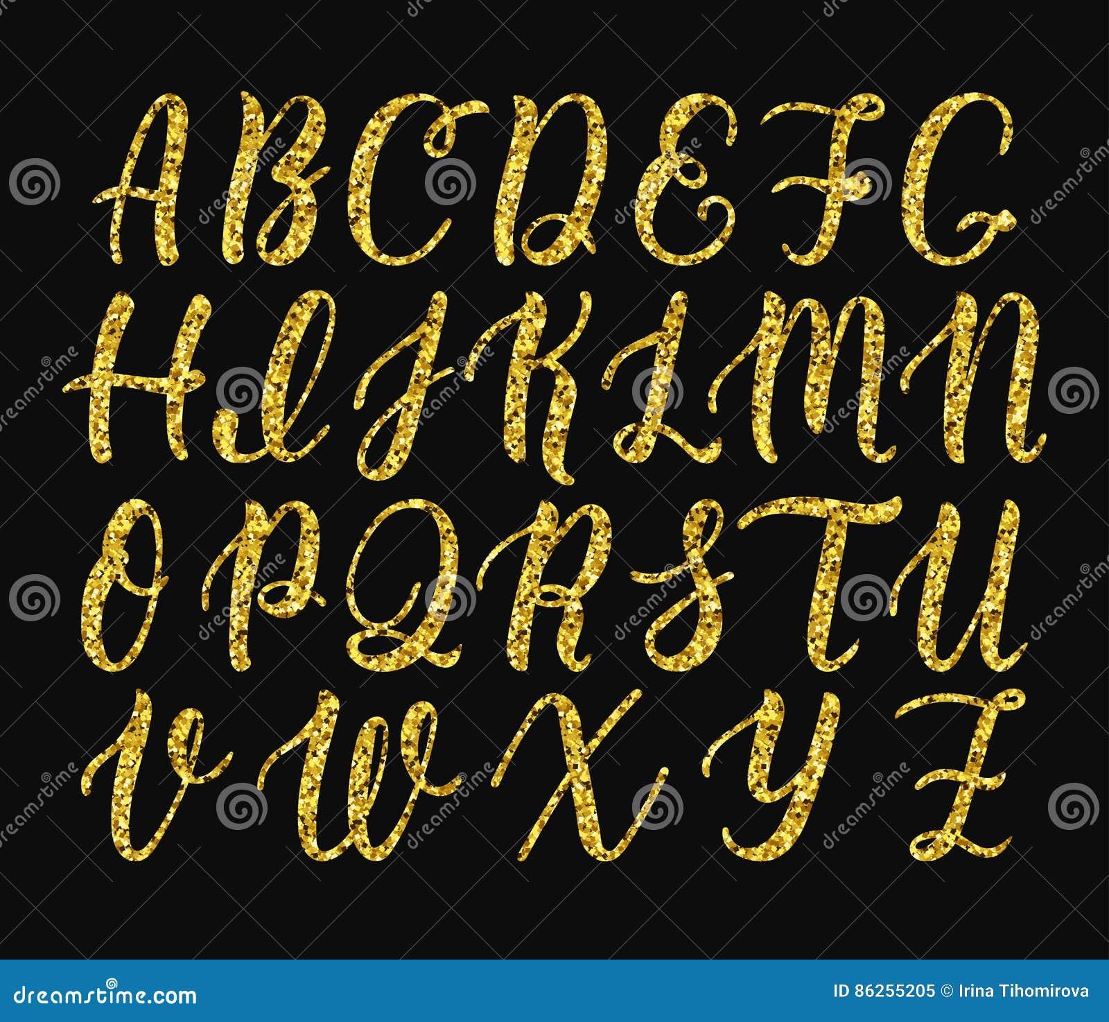 Handgeschriebenes lateinisches Kalligraphiebürstenskript von Großbuchstaben Goldfunkelnalphabet Vektor