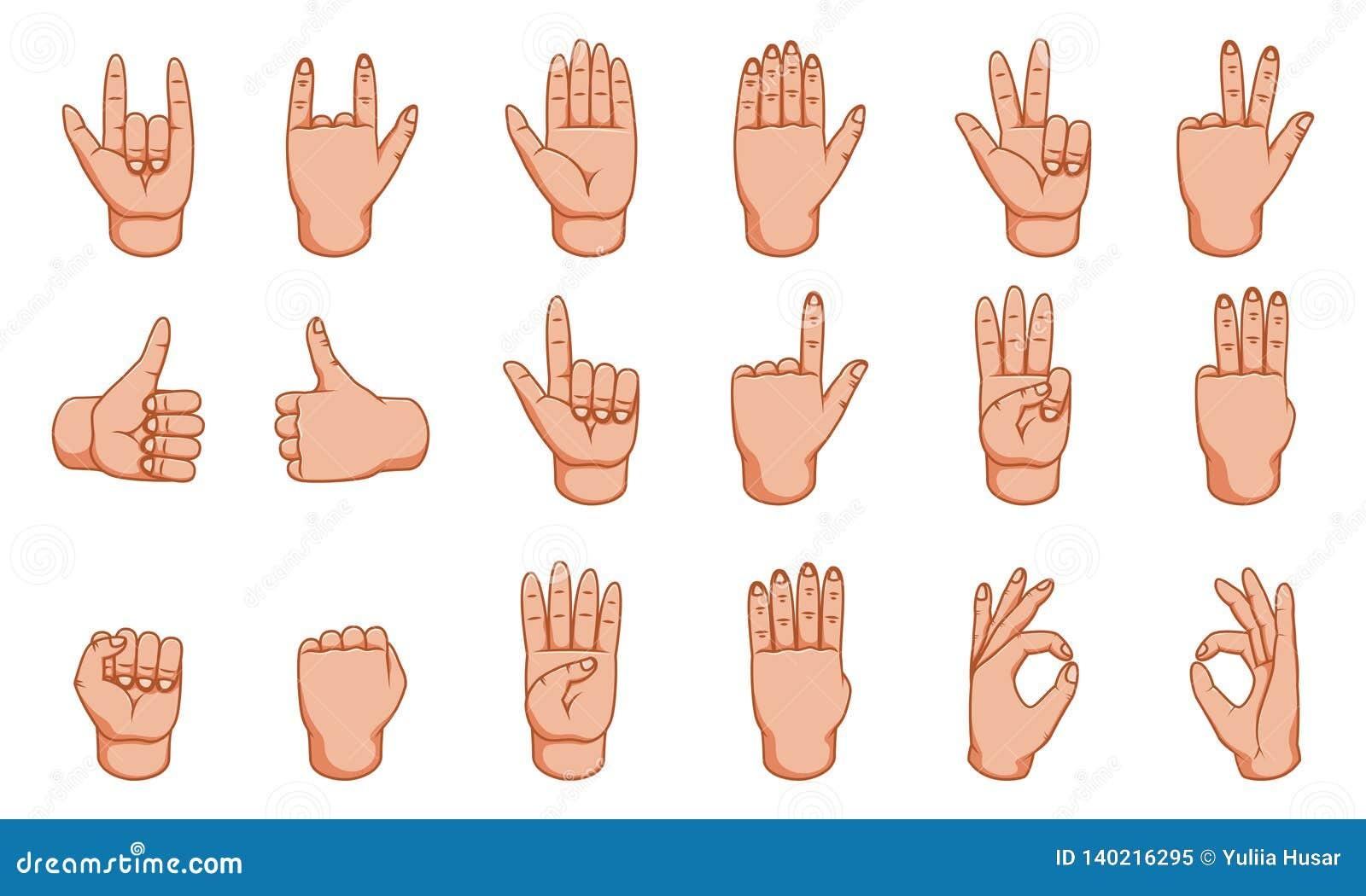 Handgester, stor design för några avsikter tecken Gestlinje symbol Mänskliga vektorgester Vit bakgrund