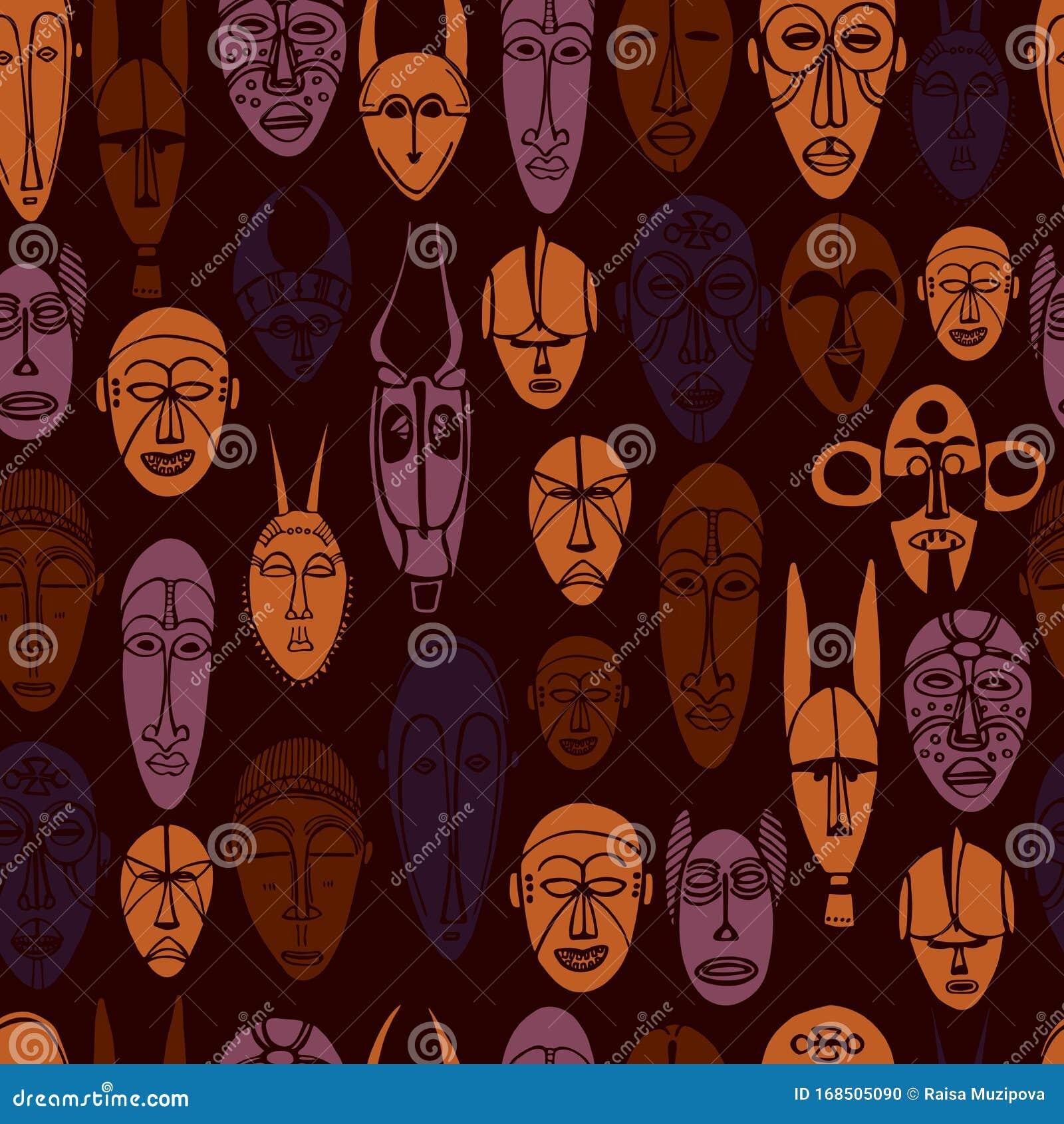 handgezogene afrikanische masken nahtlose vektormuster
