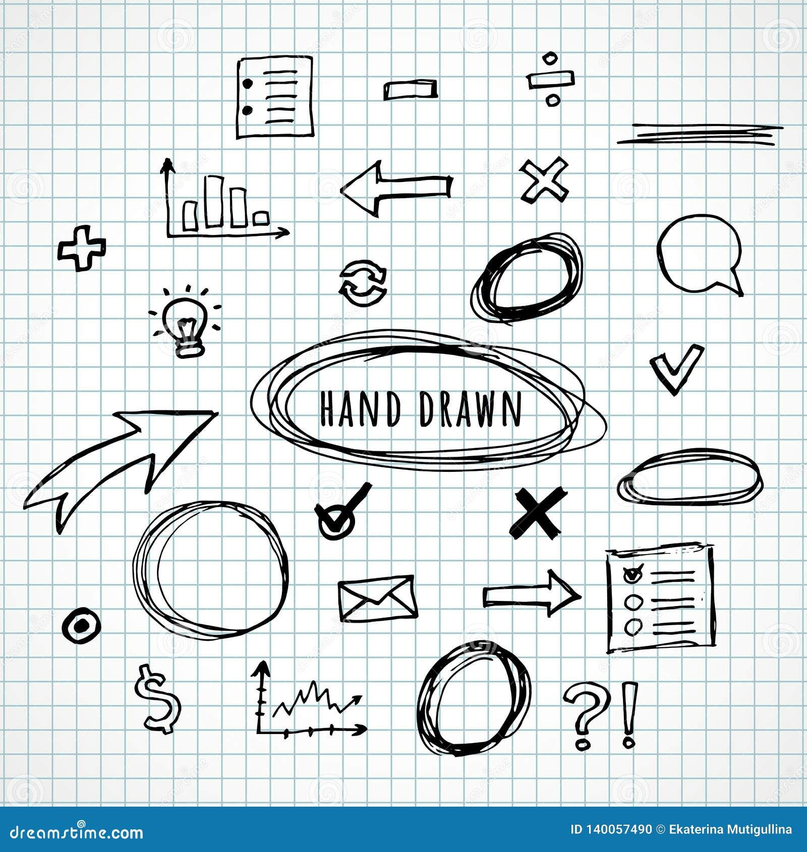 Handgezogene Elementskizze