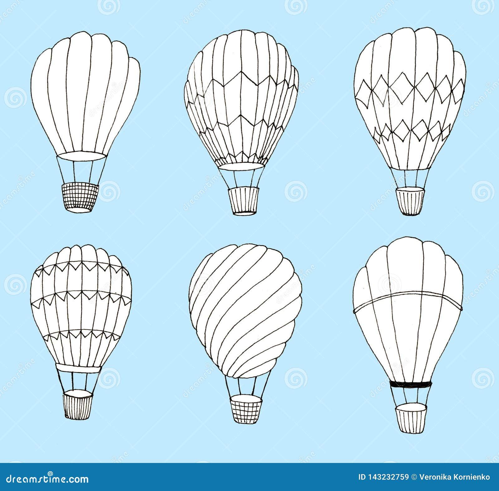 Handgezogene Heißluft baloons eingestellt auf blauen Hintergrund