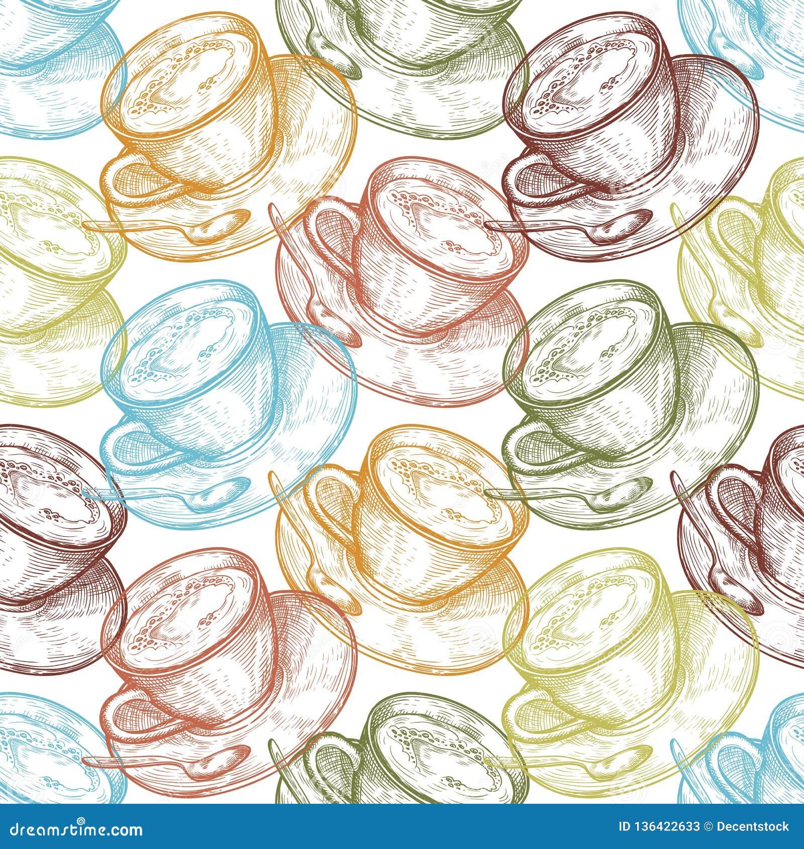 Handgezogene Nahrungsmittelnahtloses Muster, Schale des heißen Getränks