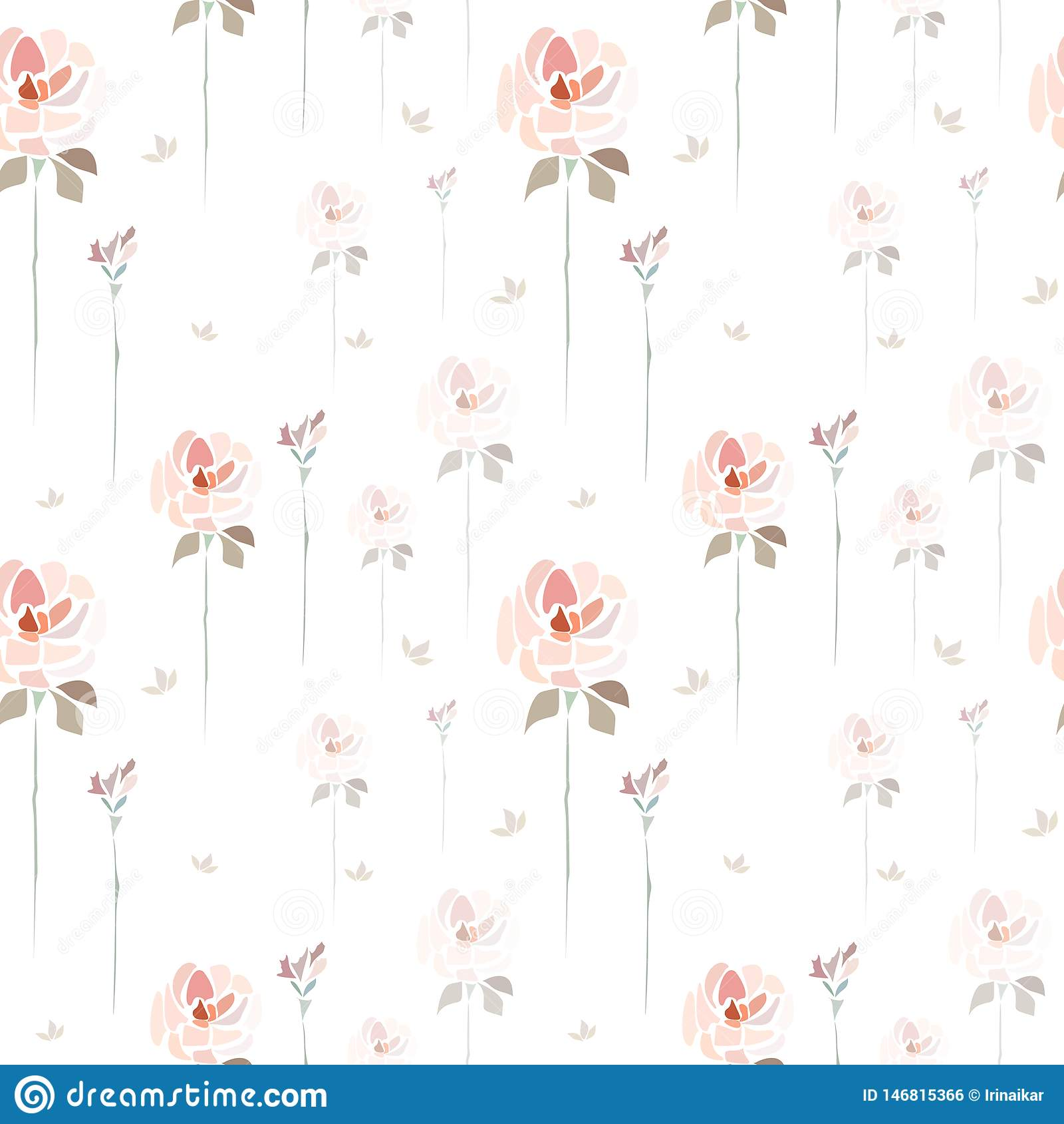 Handgezogene rosa Rosenblumen auf wei?em Hintergrund wie Aquarellmalerei