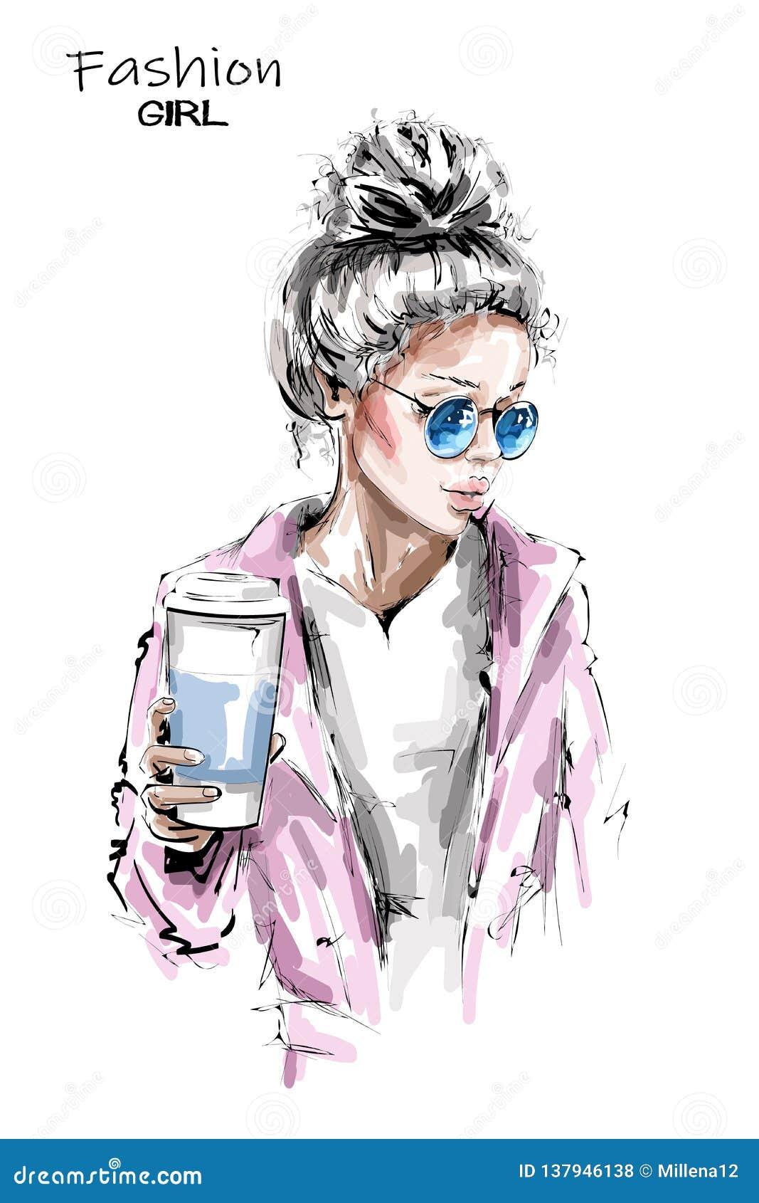 Handgezogene schöne junge Frau, die Plastikkaffeetasse hält Stilvolles Mädchen des blonden Haares Modefrauenblick