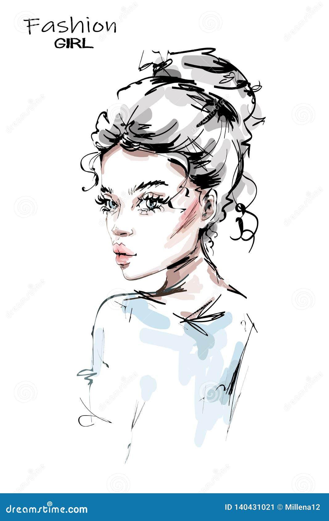 Handgezogene schöne junge Frau mit netter Frisur Stilvolles Mädchen Modefrauenblick
