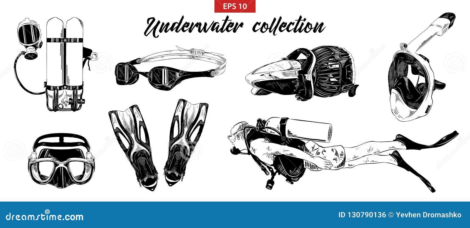 Handgezogene Skizze des Sporttauchens, Unterwasser- und den Satz schnorchelnd lokalisiert auf weißem Hintergrund Ausführliche Wei