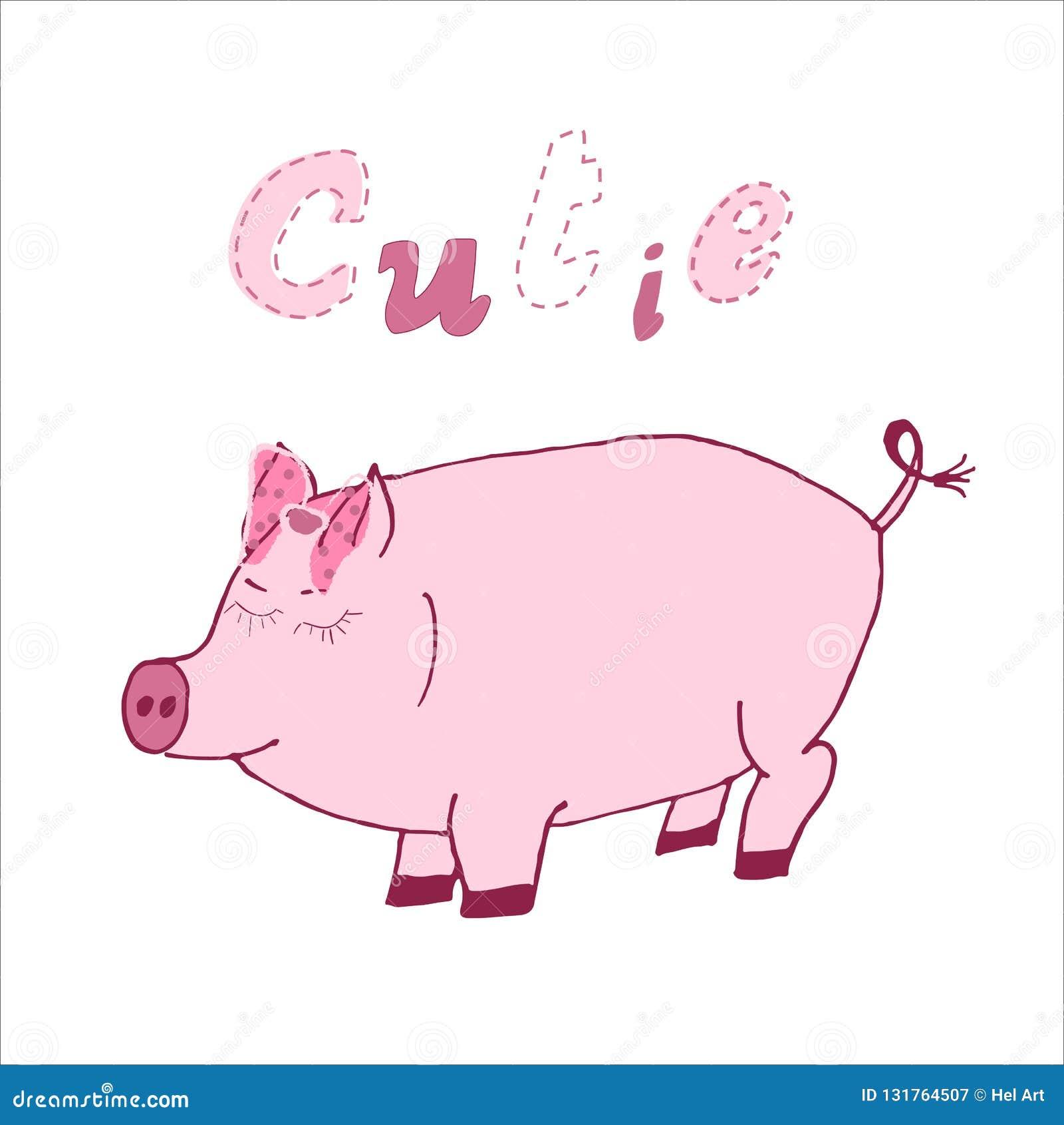 Handgezogene Vektorillustration eines netten Karikaturschweins mit kalligraphische Hand schriftlichem Zitat Cutie Skandinavischer