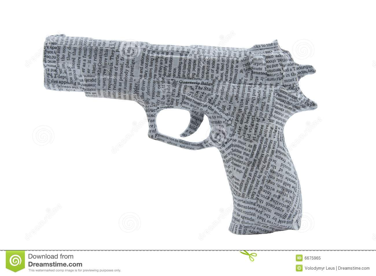 Handgun tightyl wrapped in newspaper