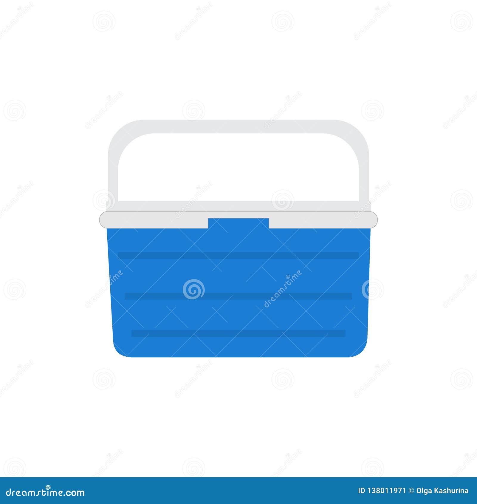 Handheld голубой холодильник, охладитель льда для пикника или располагаться лагерем Иллюстрация вектора, изолированная над белой