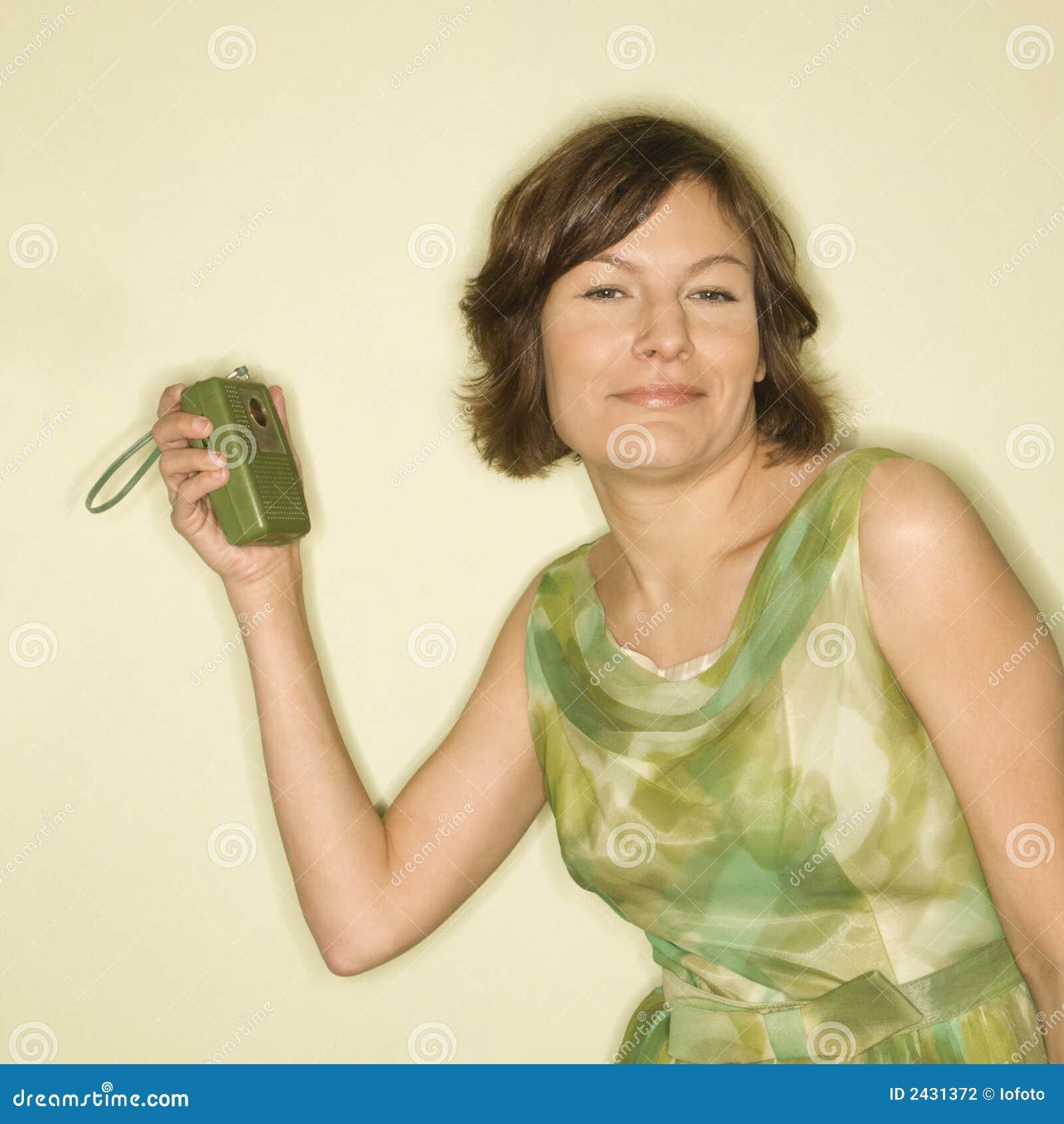 Handheld radio woman