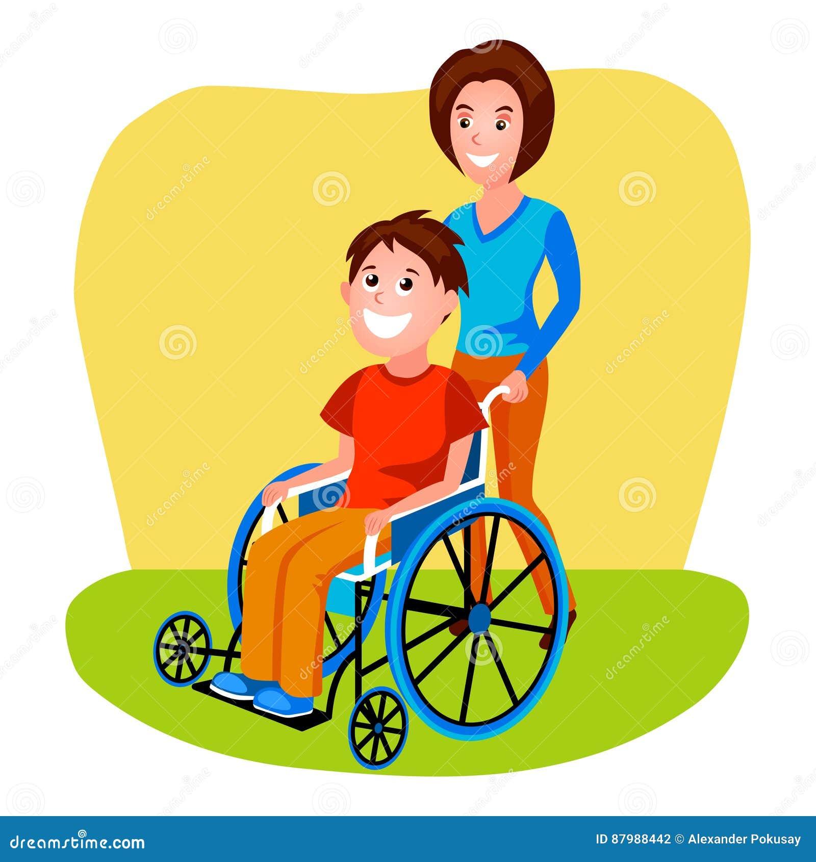 Handicapé De Aide De Femme Dans Le Vecteur De Fauteuil