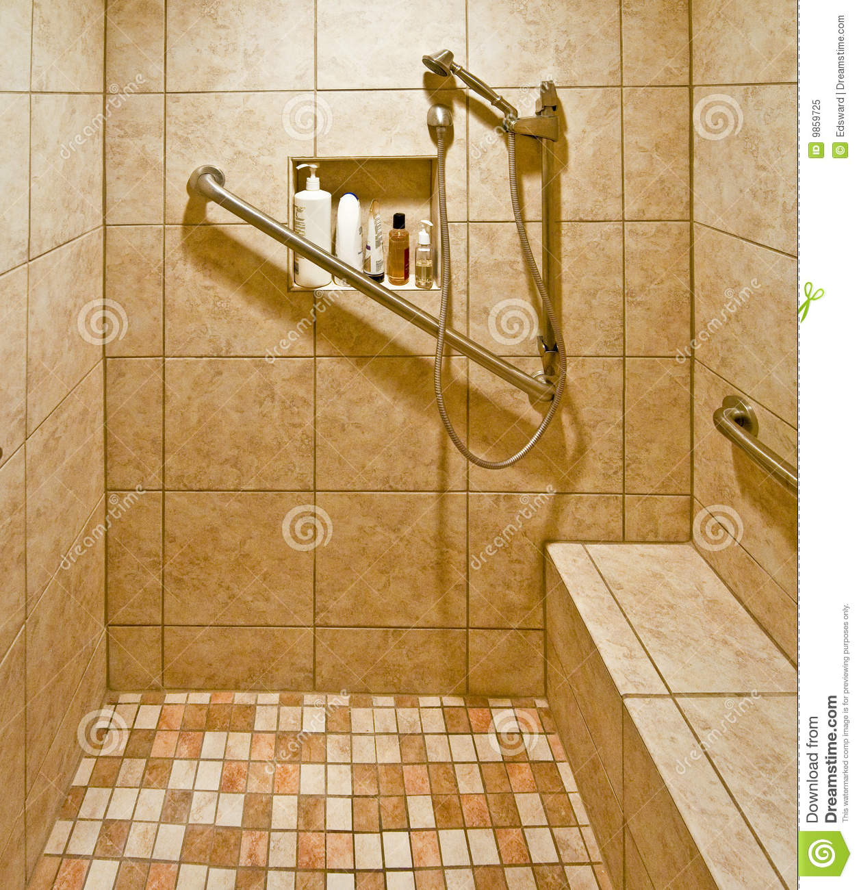Handicap accessible shower stock image image of for How to build a wheelchair accessible shower