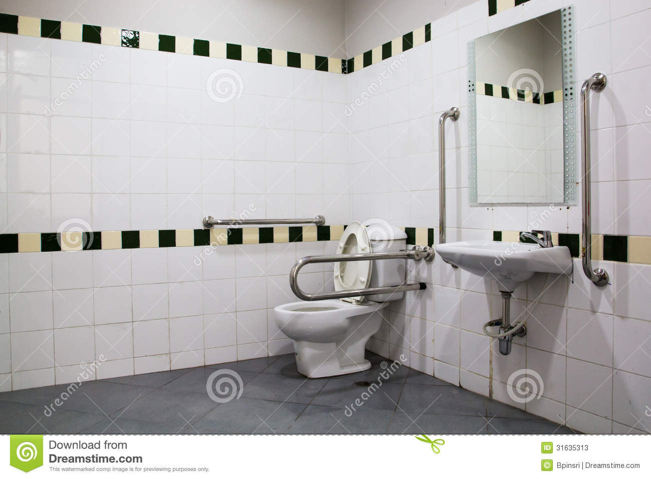 Handicap Bathroom With Grab Bars And Ceramic Tile Stock