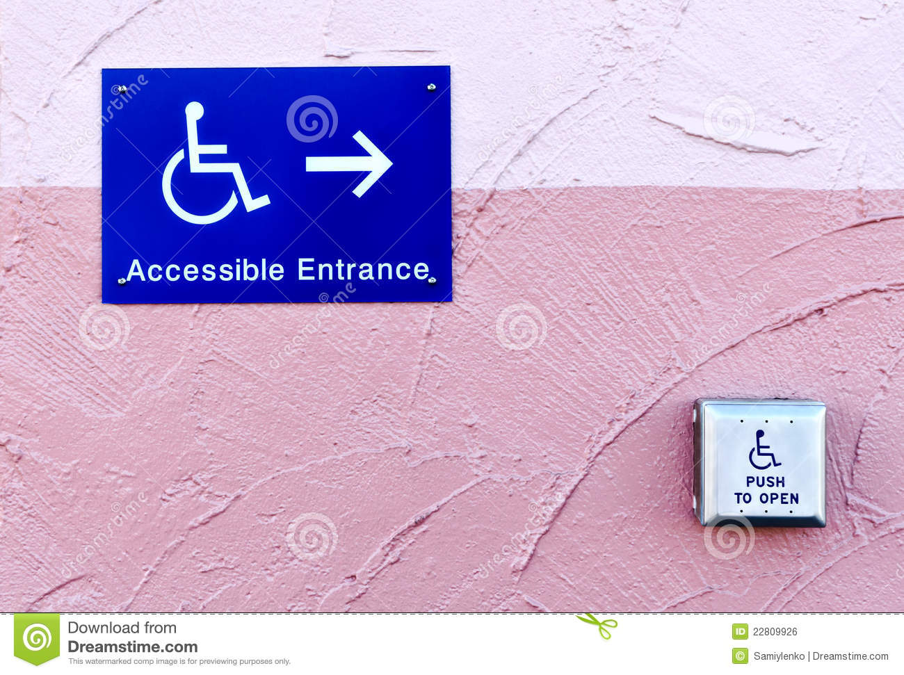 handicap entrance sign and button stock photo image of entrance