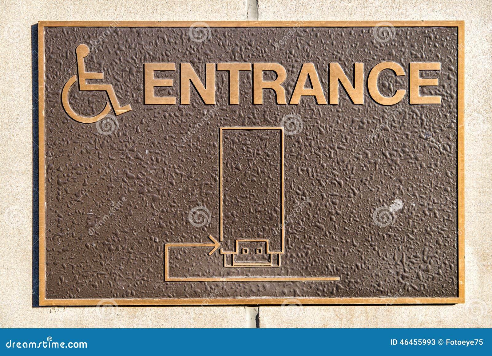handicap entrance sign stock photo 46455993 megapixl