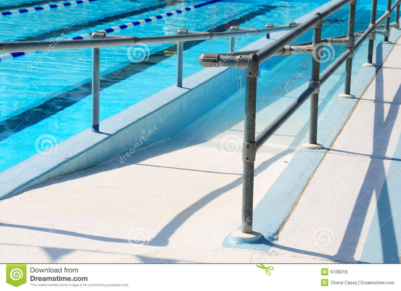 Handicap ramp leading to swimming pool royalty free stock for Piscine adaptee handicap
