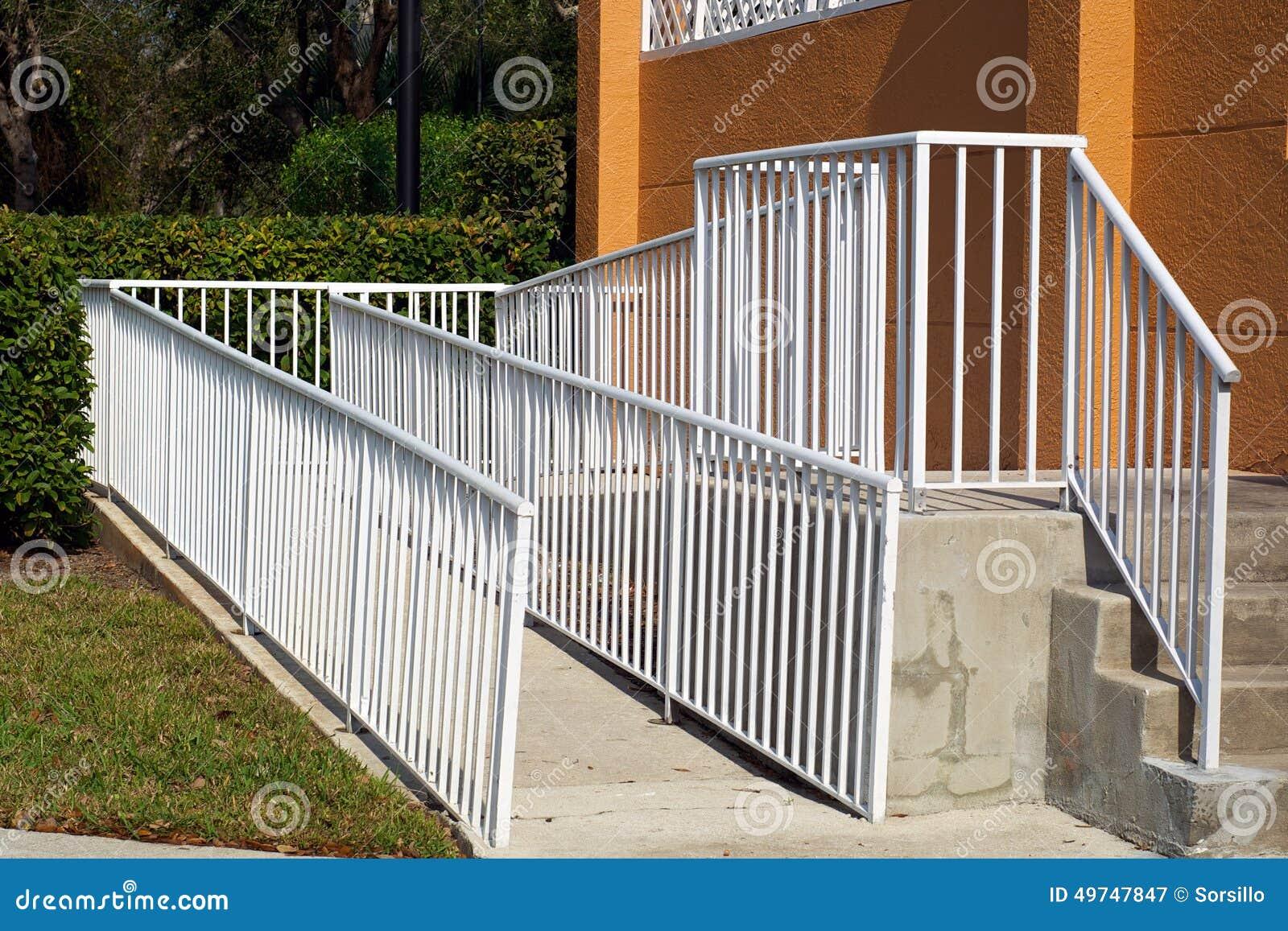 Handicap Ramp With White Railing Stock Image - Image of ...