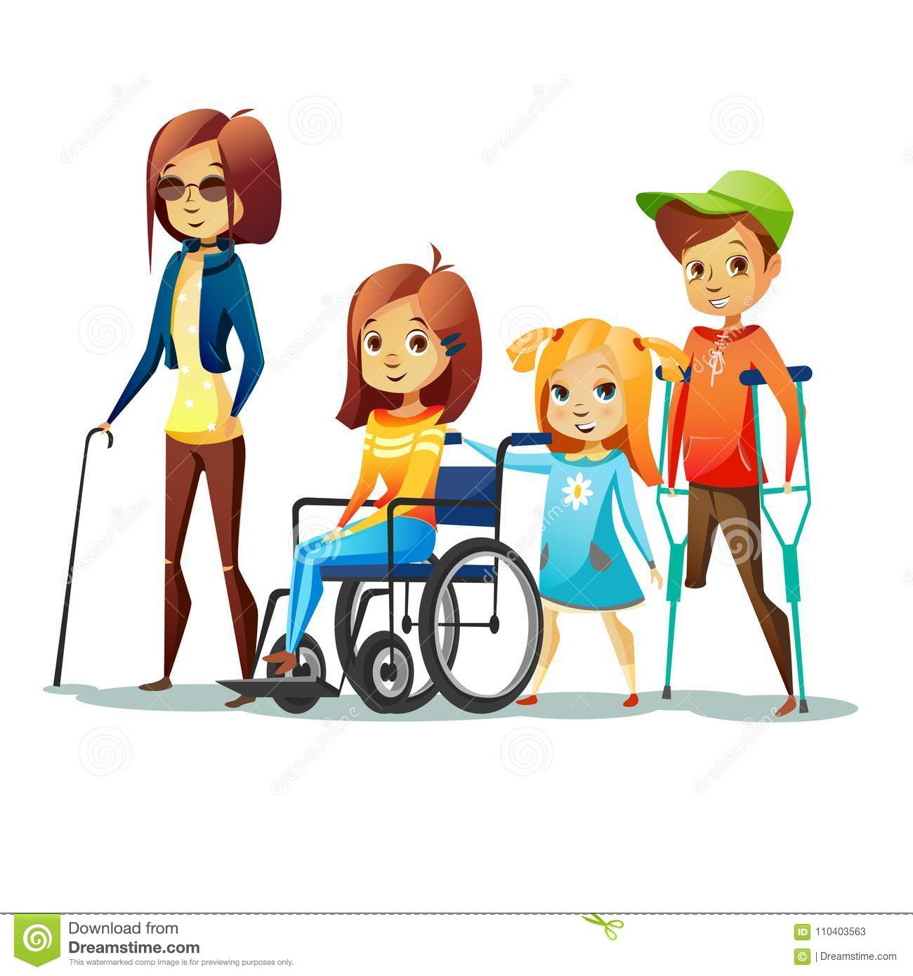 Handicapped Children Vector Illustration Of Disabled And ...