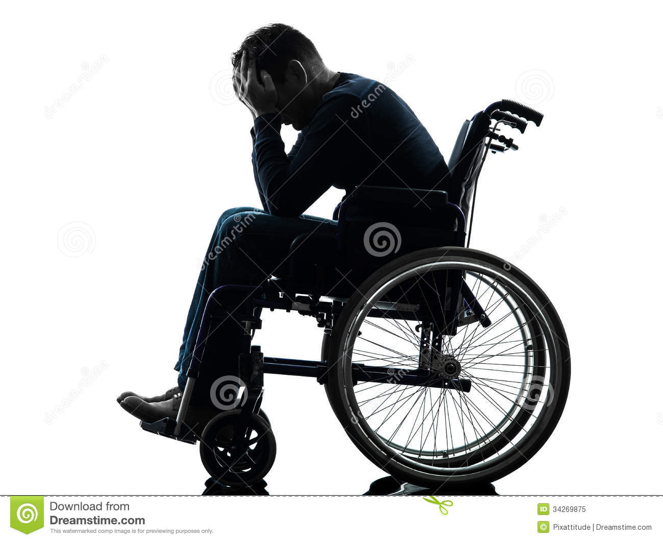 Handicapped Man Head In Hands In Wheelchair Silhouette