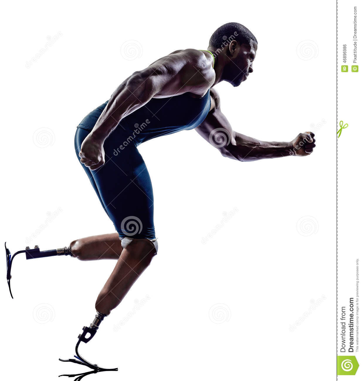 Handicapped Man Runners Sprinters With Legs Prosthesis