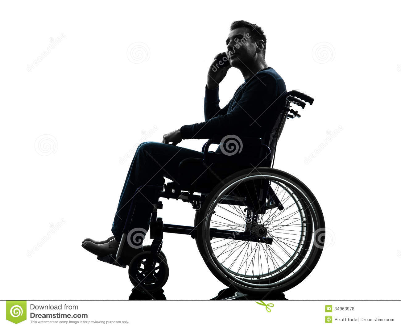 Handicapped man on the telephone in wheelchair silhouette Handicapped wheelchair