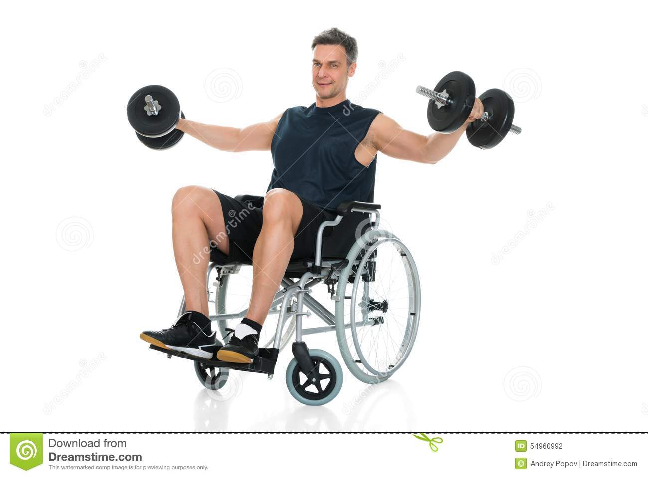 Handicapped man on wheelchair working out royalty free
