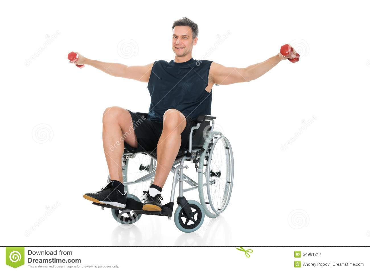 Handicapped Man On Wheelchair Working Out Stock Photo