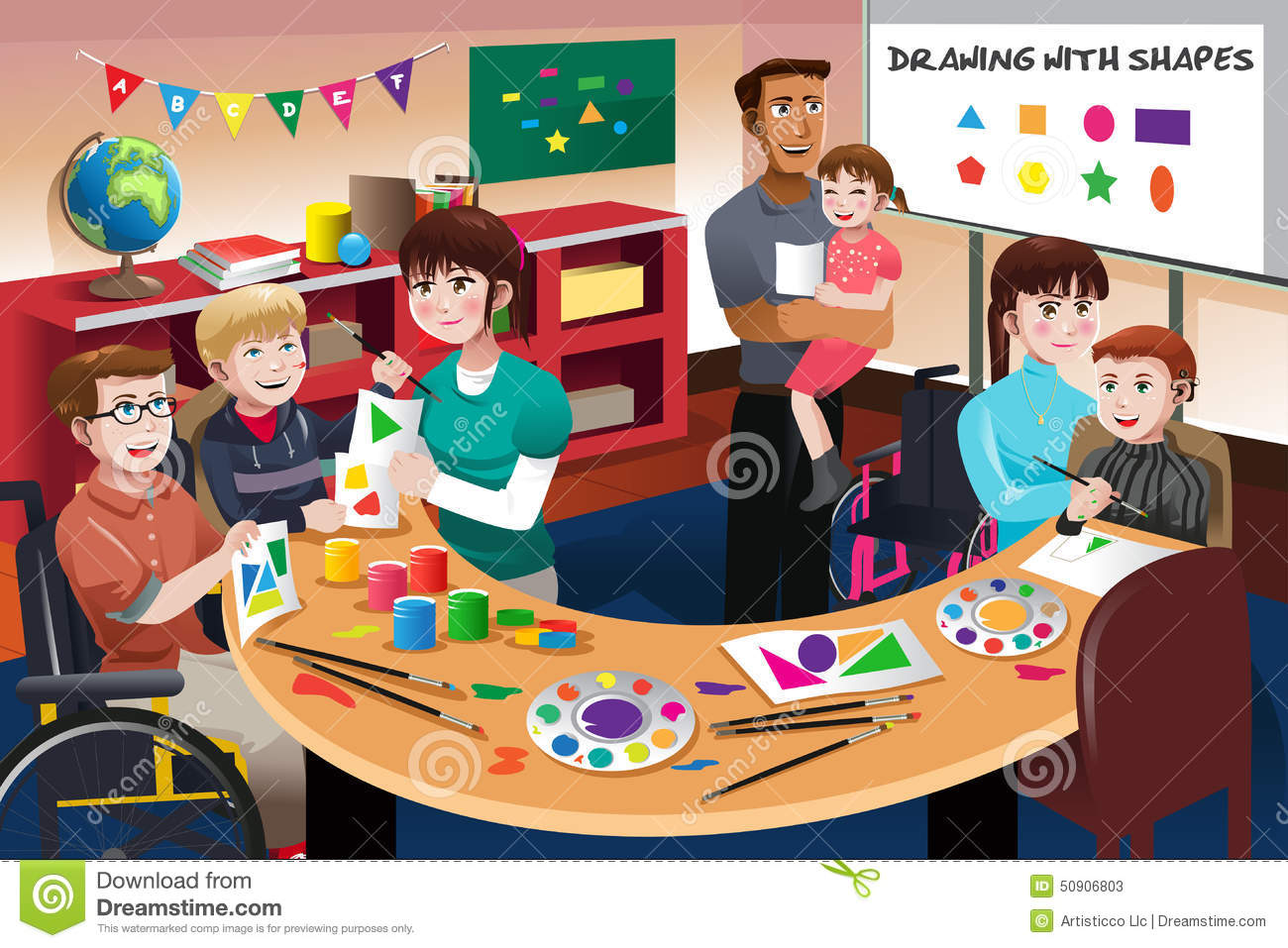 Modern Classroom Clipart ~ Handicapped students in a classroom stock vector image